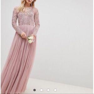 ASOS embroidered mesh long sleeve maxi dress